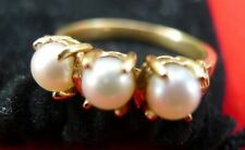 Vintage 14kt Gold Ring with Three Natural Pearls