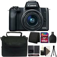 Canon EOS M50 Mirrorless Digital Camera + 15-45mm Lens Black 64GB Accessory Kit