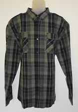 Ecko Unlimited Mens L/S Shirt Size 2XL Black & Green Check w/ Rear Graphics NWT