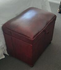 VINTAGE WOODEN TRUNK / CHEST / STORAGE BOX WITH UPHOLSTERED BURGUNDY SEAT SOLID