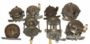 8 vintage raised pillar nickle & brass reels, Portage & Shakespeare