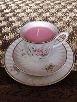 Teacup candle trio, Portelanul Alba Lulia, open pink floral design, rose wax