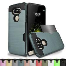 Hybrid Rubber Shockproof Card Wallet Hard Case Cover For LG G5 G6 V10 V20 V30