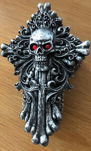 Antique Silver Skull / Cross Pin Box 370g 16cm BRAND NEW IN BOX - A MUST HAVE