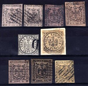 ITALIAN STATES: MODENA 1853-9 NEWSPAPER TAX USED SELECTION, FAULTS, 9 STAMPS