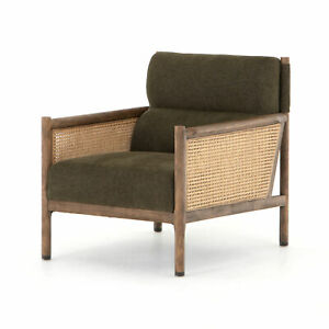"""34"""" Natural Rustic Green Fabric Club Chair Tan Side Panel Woven Cane Brown Wood"""