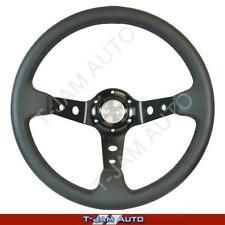 SAAS GT Racing Black Leather Steering Wheel 350mm Deep Dish NEW