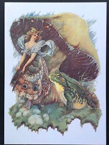 Blank Art Note Card MUSHROOM princess NOS Pleiades Press #125 frog fairy rain