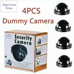Fake Dummy Dome Surveillance Security Cameras - Set of 4 with LED Sensor Light