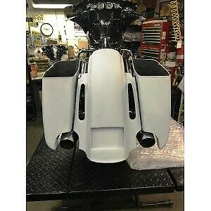"Top Shop Stretched New Style Viper Extended 4.5"" Saddlebags 14-19 Harley"