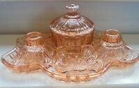 Art Deco 1930s Pink Glass 5 Piece Dressing Table Vanity Set Immaculate Condition