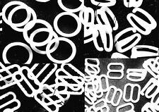 10 Gr Clips de Ajuste de corpiño de tira Blanco Anillo diapositiva Ganchos tamaños surtidos Formas