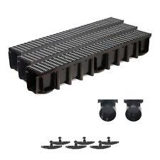 3m Entwässerungsrinne B125 SET Kunststoffrost schwarz Komplettsystem Tiefe:148mm