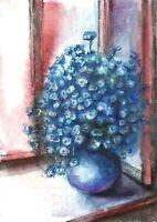 ACEO  Blue vase flowers original painting art card