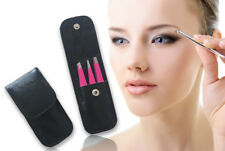 Eyebrow Tweezers Set 3pcs Flat Pointed Slant Tip Clip Tool Kit With Leather Case