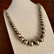 LONG NATIVE AMERICAN NAVAJO STERLING SILVER GRADUATED BENCH BEAD NECKLACE