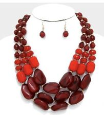Red Pearl Multi Layered Strand Statement Bead Chunky Jewelry Necklace Set