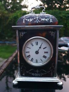 A STUNNING HALLMARKED SILVER AND TORTOISESHELL CARRIAGE CLOCK, LONDON 1923