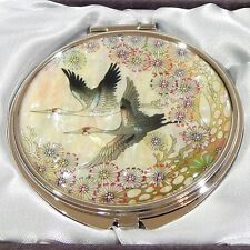 Korean Mother of Pearl Compact Mirror with Pair of Cranes