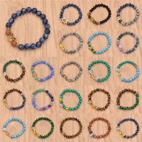 8mm Natural Stone Adjustable Bracelet Charm Unisex Elastic  Bangle Jewelry Chic