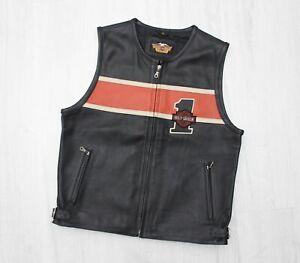 Men's HARLEY DAVIDSON Leather Vest RARE Size M Motorcycle Biker 10/10