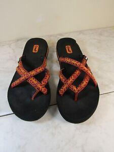 Teva Olowahu 6840 Women's Size 9 Rust/Orange Designed Flip Flops Sandals