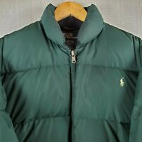Rare VTG POLO RALPH LAUREN Medium Mens Goose Down Winter Puffy Jacket Coat Green