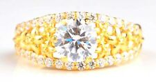 Round Shape 3.05 Carat Solitaire Engagement Ring In Finest 14KT Yellow Gold