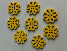 8 beads buttons flower wood yellow 0 19/32in