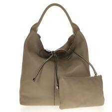 Gianni Chiarini Italian Made Taupe Pebbled Leather Oversize Slouchy Hobo Bag