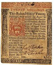 Francis Hopkinson, Signer Declaration of Independence, signed PA Currency, 1771