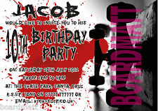 SKATEBOARD SKATER BOY/GIRL Personalised Party Invitations x10 COOL! SK8-2