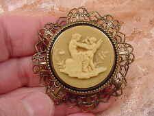 (cs61-2) CHERUB WOMAN Cupid tan CAMEO brass brooch Pin Pendant Jewelry NECKLACE