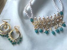 Hyderabadi Pearls Emerald Tirmani and Chand Bali Necklace Set