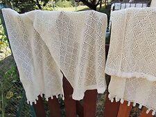 une paire de  rideau ancien  crochet coton@curtain old