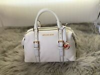 NWT Michael Kors Ginger Small Duffle Satchel Pebbled Leather Bag Optic White