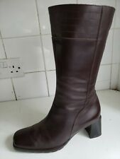 ECCO DESIGNER WOMENS LEATHER MID-CALF LOW HEELS BROWN BOOTS SIZE UK 4.5 EU 37.5