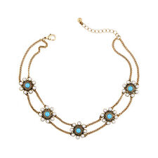 NEW J CREW Penta Mabellia Teal Gem Faux Pearl Drop Necklace