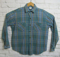 Vtg Flannel Long Sleeve Plaid Button Down Green Blue Yellow Size XL