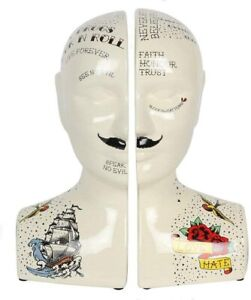 Porcelain Phrenology Head Bookends