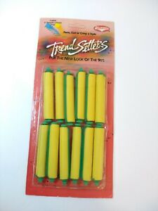 NEW IN PACKAGE VINTAGE 1990's KEMATIC CURLS YELLOW CIRCULAR ROD HAIR  CURLERS