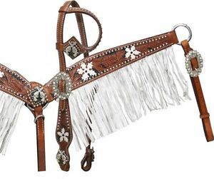 Showman Medium tooled headstall & breast coller with black color inlay & flowers