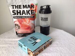 The Man Shake Strawberry Weight Loss Shake + Chocolate bars +Shaker Free Express
