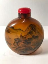 Antique Large Snuff Bottle - Inscribed China - Reverse Painted