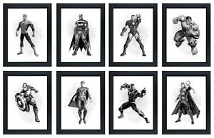 Superhero Marvel Avengers Characters Bedroom Poster Birthday Gift A4 Print Only
