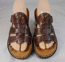 Naturalizer TRIBAL-1 Womens Strappy Sandals 8 M Leather Slip On EZ Strap Brown