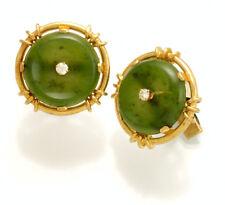14K Yellow Gold Green Jade & Diamond Cufflinks