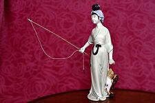 Vintage Rare Japanese Porcelain Figurine 'Japanese Woman on Fishing'