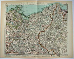 Pomerania & Posen, Germany - Original 1937 Map by Velhagen & Klasing. Vintage