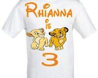 LION KING GIRLS AND BOYS Simba and Narla Birthday T-shirt-Personalised FREE POST